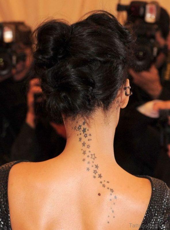 Graceful Stars Tattoo On Nape