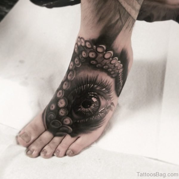 Graphic Tentacle Eye Foot Tattoo