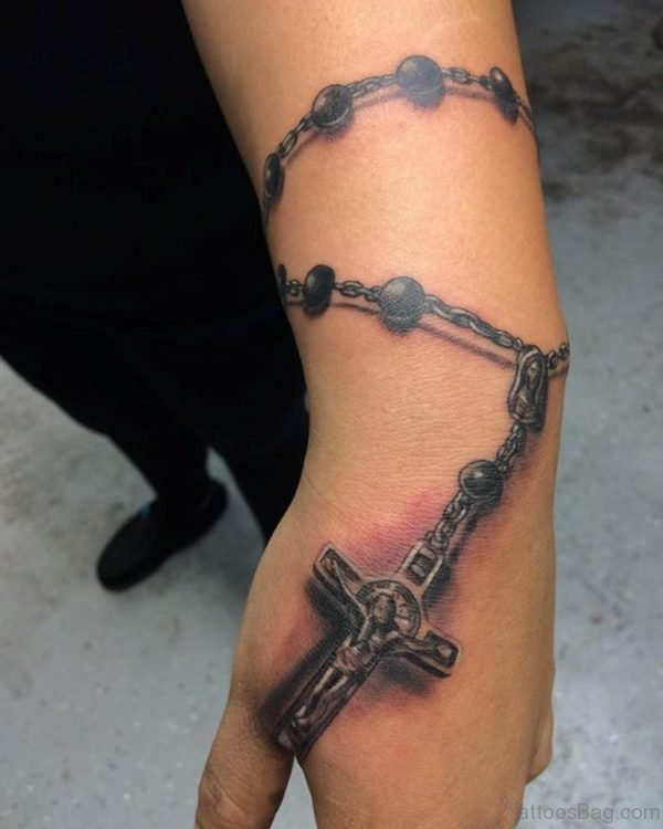 Great 3D Holy Rosary Tattoo