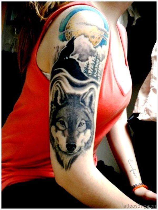 Great Alpha Wolf Tattoo On Shoulder