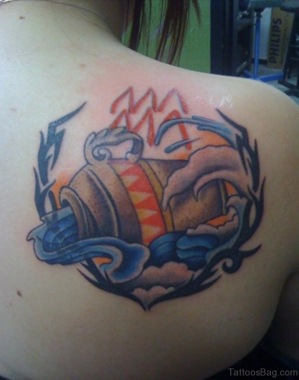 Great Aquarius Tattoo On Shoulder