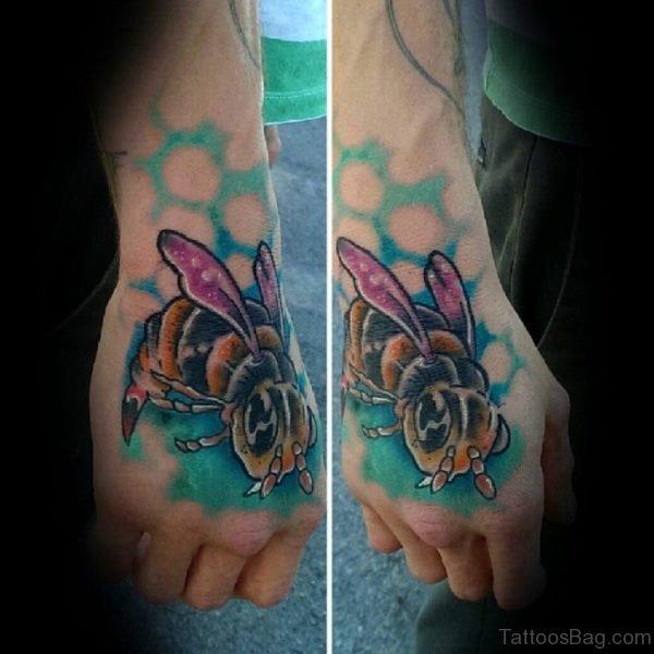 Great Bee Tattoo On Hand