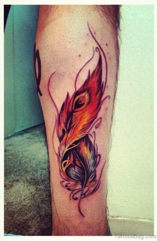 Great Feather Tattoo on Leg