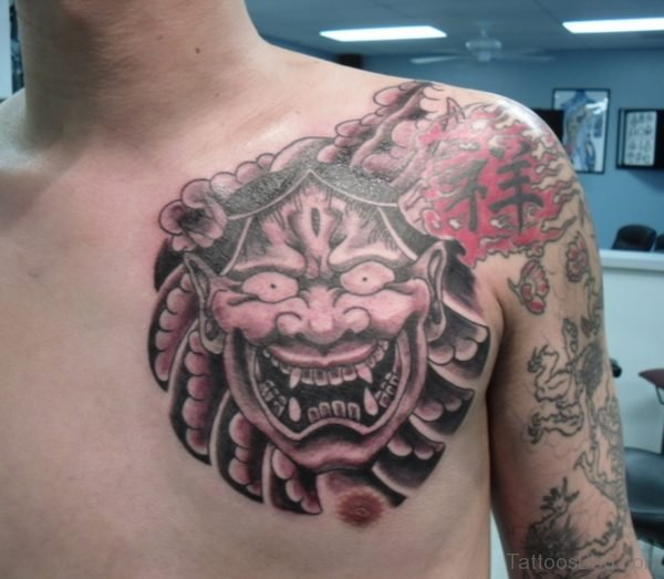 Great Hannya Mask Tattoo On Chest