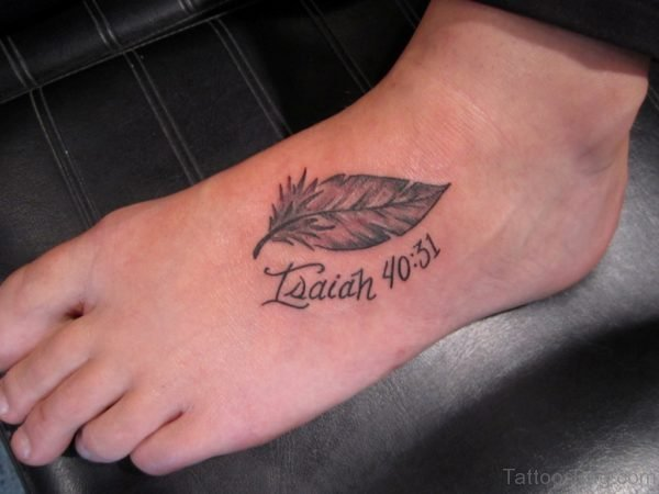 Great Looking Feather Tattoo on Foot