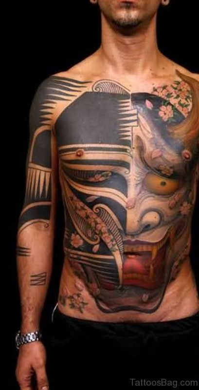 Great Mask Tattoo For Chest