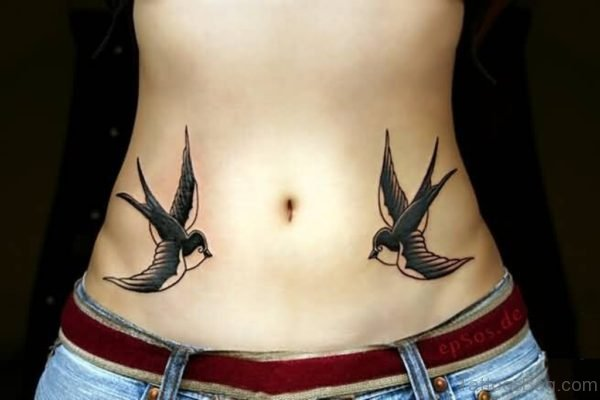 Great Swallow Tattoo On Waist
