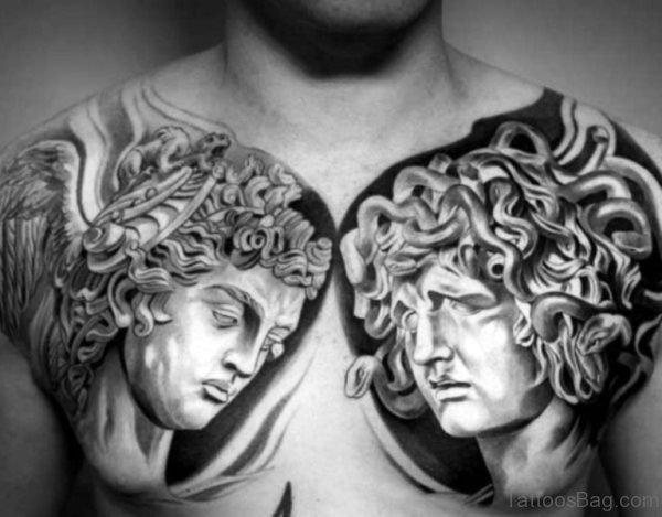 Greek Gods Tattoo On Chest
