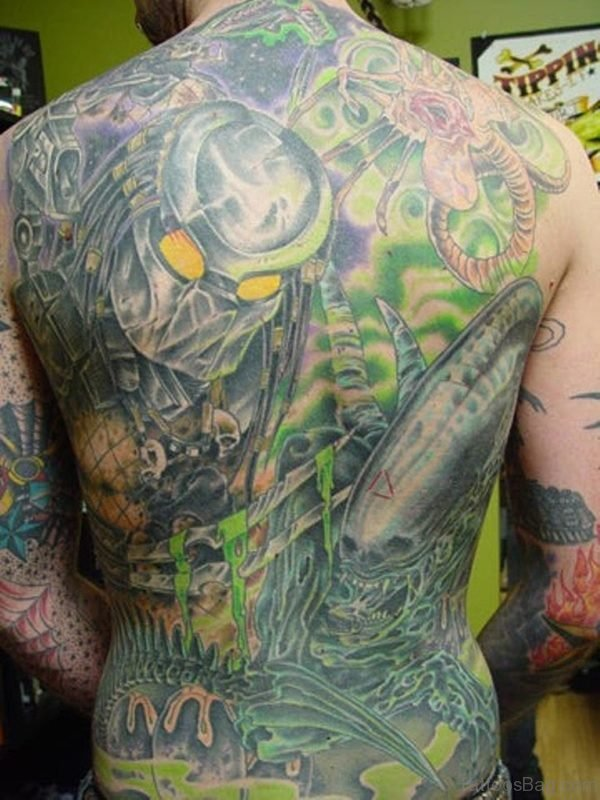 Green And Grey Ink Alien Tattoo