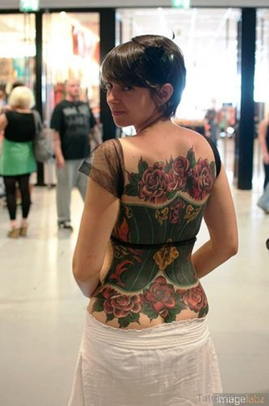 Green Corset Tattoo With Roses