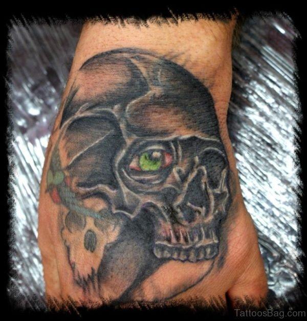 Green Eye Skull Tattoo