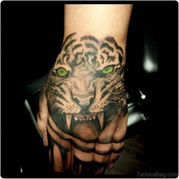 Green Eye Tiger Tattoo