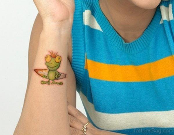 Green Frog Tattoo On Wrist