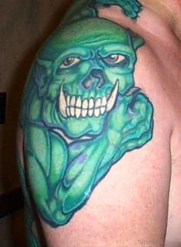 Green Gargoyle Tattoo On Shoulder