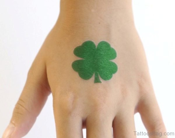 Green Leaf Tattoo On hand