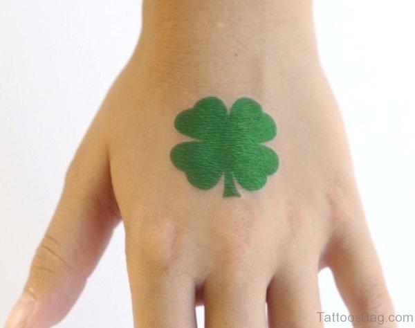 Green Leaf Tattoo on Hand