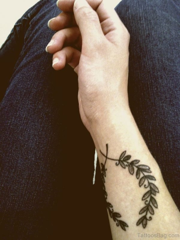 Green Leaves Wrist Tattoo