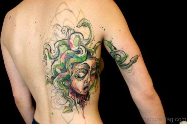 Green Medusa Tattoo On Rib