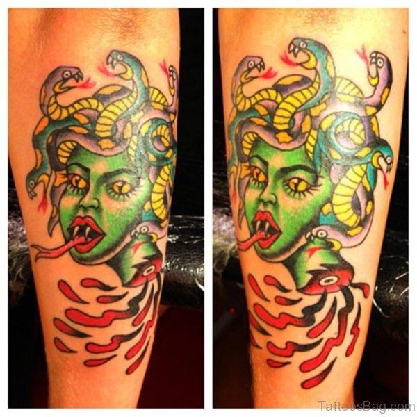 Green Medusa Tattoo on Arm