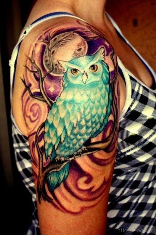 Green Owl Tattoo On Shoulder