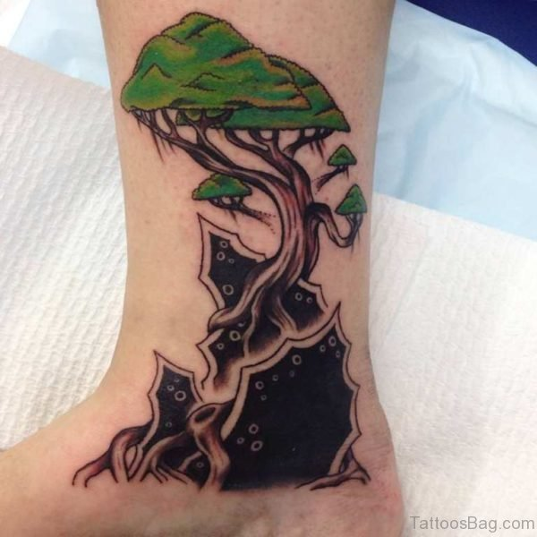 Green Tree Tattoo Design On Right Leg