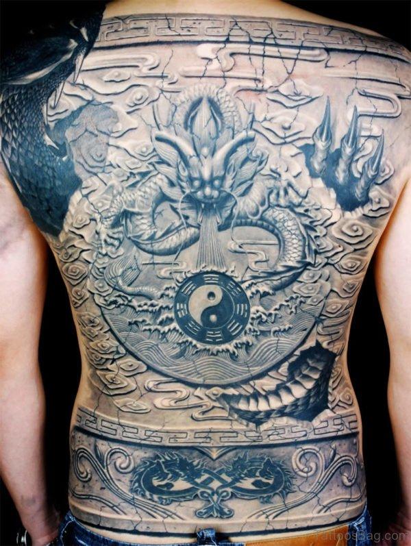 Grey Ink Dragon Tattoo Design On Full Back Body
