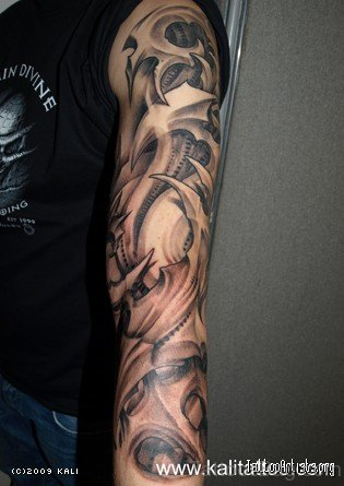 Grey 3D Mechanical Tattoo On Full Sleeve