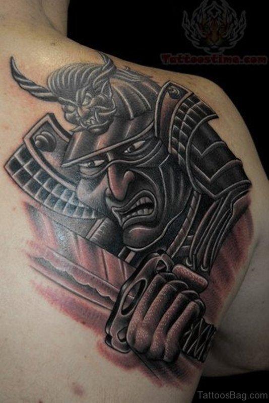 Grey And Black Ink Warrior Tattoo Design