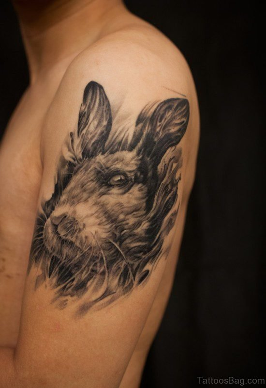 Grey And Black Rabbit Tattoo