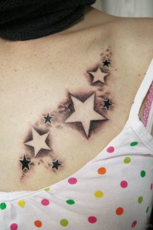 Grey And Black Star Shoulder Tattoo
