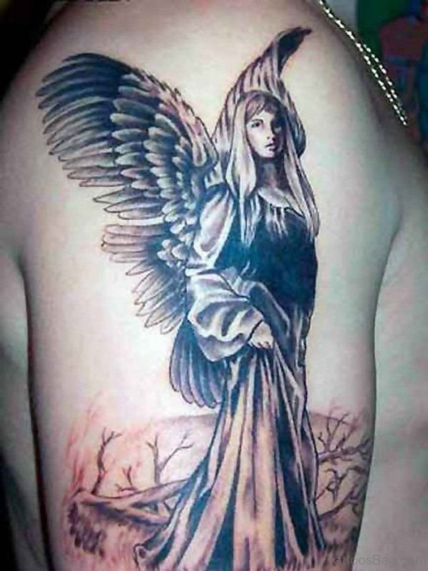 Grey Angel Shoulder Tattoo Design