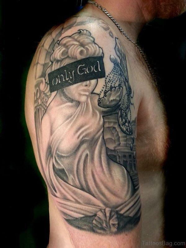 Grey Angel Shoulder Tattoo