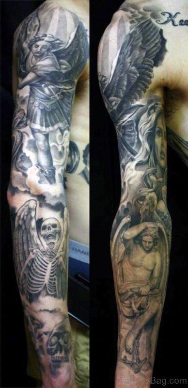 Grey Angel Tattoo On Half Sleeve ST1197