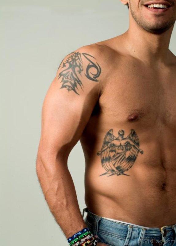 Grey Angel Tattoo On Rib