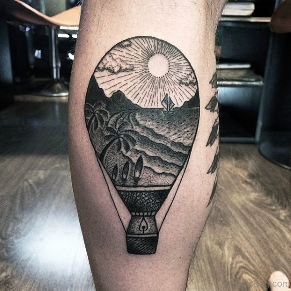 Grey Balloon Tattoo On Calf