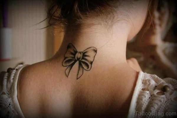 Grey Bow Tattoo