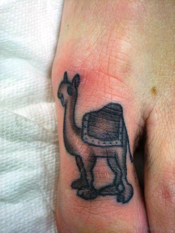 Grey Camel Tattoo On Toe