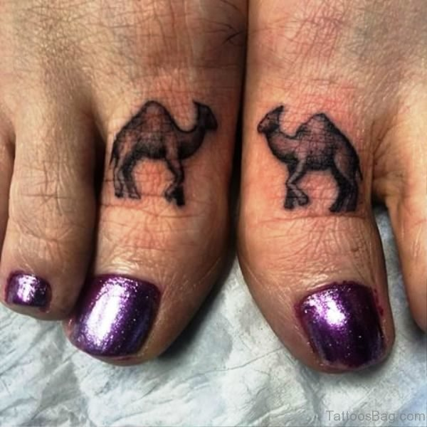Grey Camels Tattoos On Both Toes