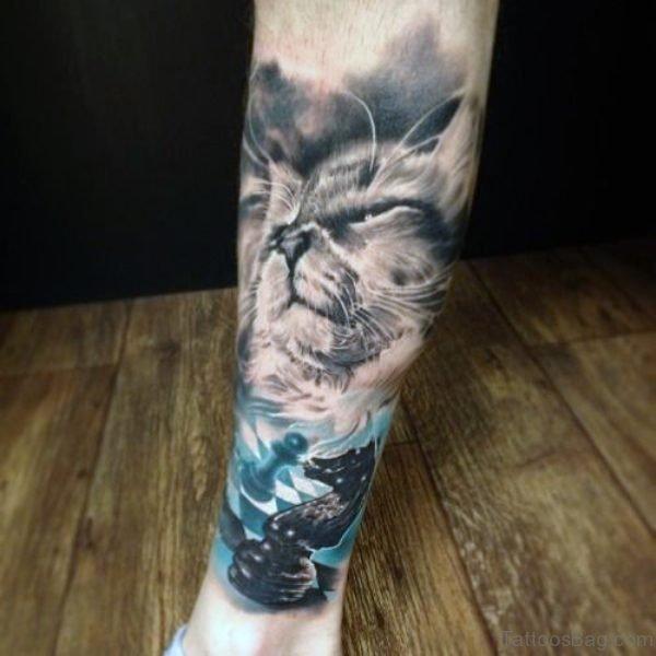 Grey Cat Tattoo Design On Leg