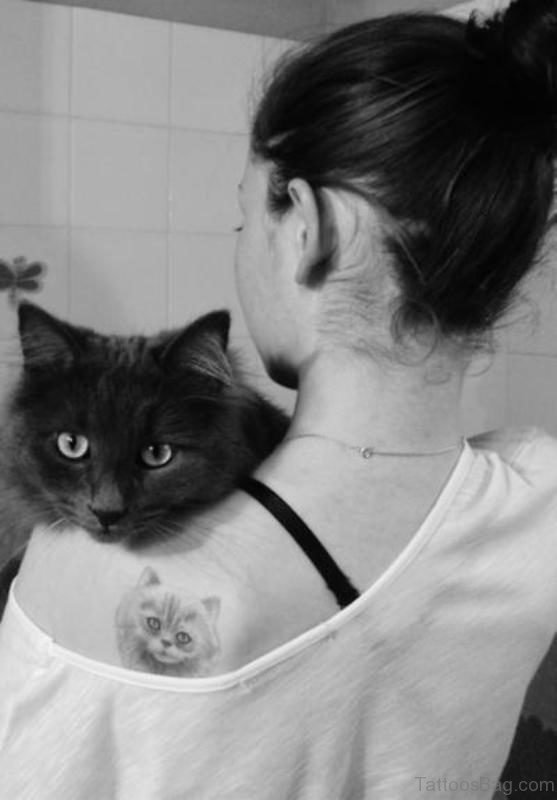 Grey Cat Tattoo On Left Shoulder