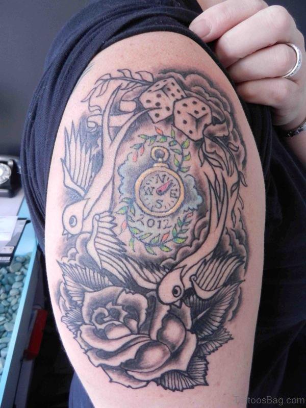 Grey Clock Shoulder Tattoo