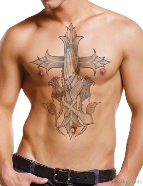 Grey Cross Tattoo On Chest