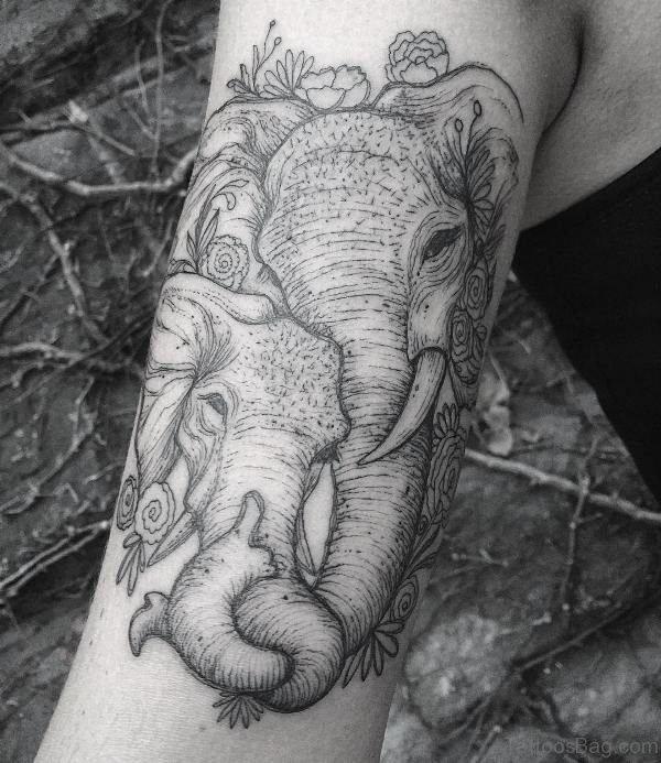 Grey Elephant Tattoo On Forearm