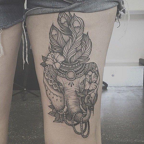 Grey Elephant Tattoo On Thigh
