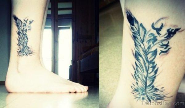 Grey Feather Tattoo