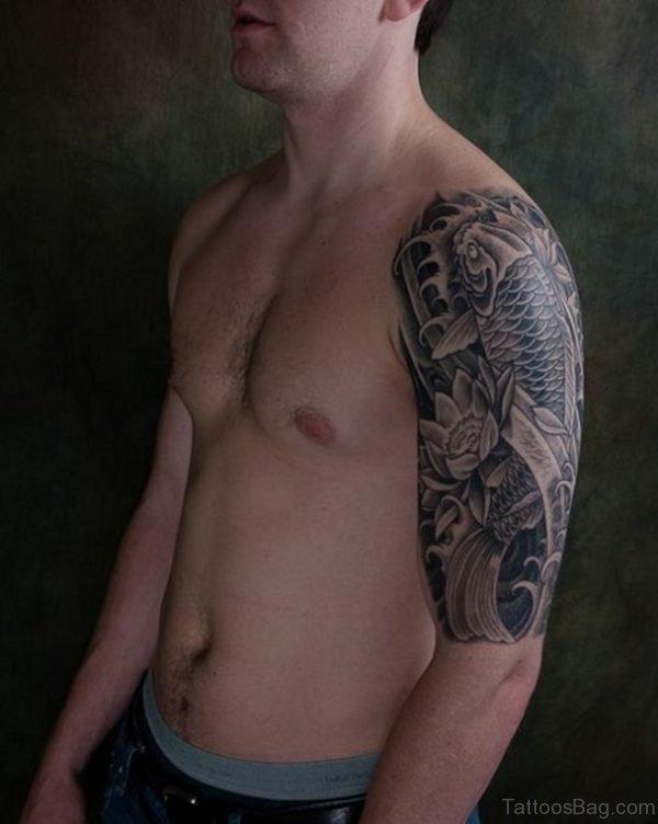 Grey Fish Tattoo On Half Sleeve