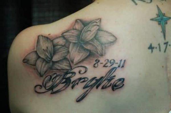 Grey Flower Tattoo Design