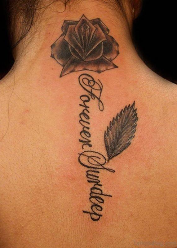 Grey Flower Tattoo On Nape