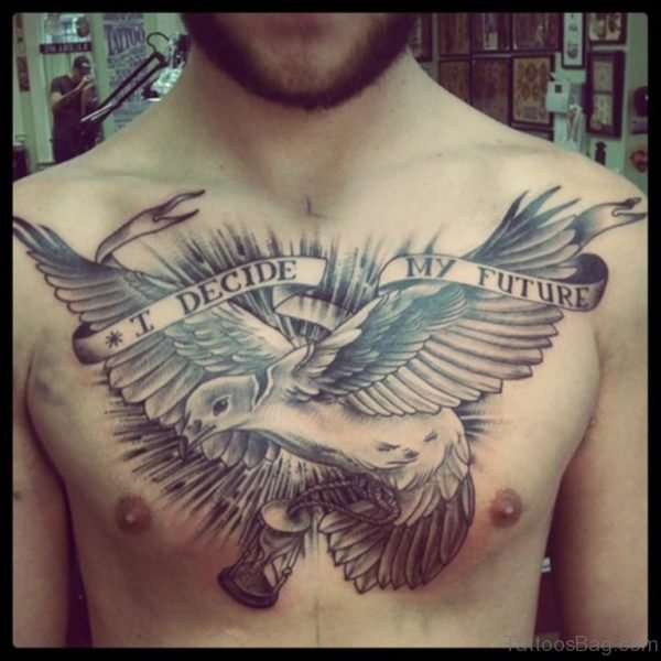 Grey Flying Dove Tattoo On Man Chest