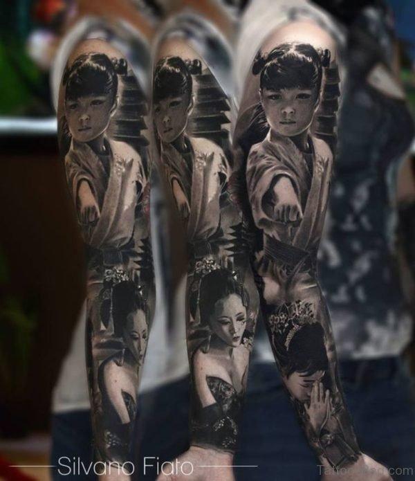 Grey Girl Portrait Tattoo On Full Sleeve